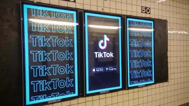 Video platform TikTok advertising in New York Advertising for the Chinese video platform TikTok in a subway station in