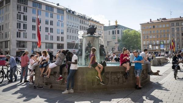 München: Der Marienplatz während der Corona-Pandemie im Mai 2020