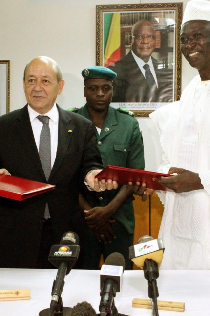 French Defense Minister Jean-Yves Le Drian (L) and his Malian counterpart Bah N'Daw pose on July 16, 2014 in Bamako