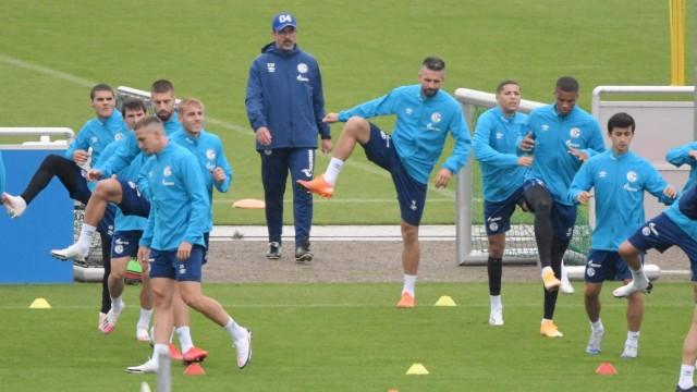 FC Schalke 04: Trainer David Wagner und die Mannschaft beim Training