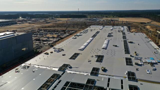 Aerial Views Of Tesla Inc. German Gigafactory Construction Site