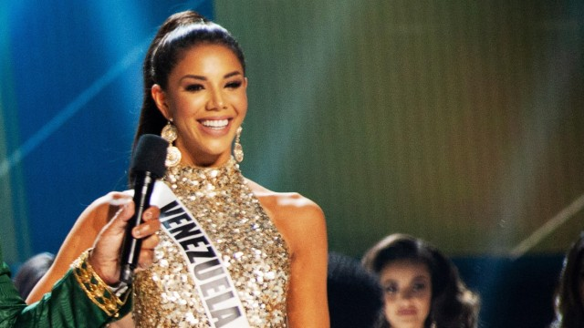 December 8, Atlanta, Georgia, USA: Thalia Olvino, Miss Venezuela 2019 on stage in fashion by Sherri Hill as a Top 20 fin