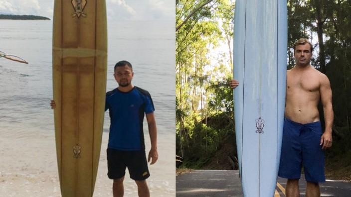 """SZ-Serie """"Ein Anruf bei"""": Ist das wirklich dasselbe Brett? Rechts der ursprüngliche Besitzer Doug Falter aus Hawaii, links der Finder Giovanne Branzuela von den Philippinen. Zwischen ihnen liegen 8000 Kilometer."""