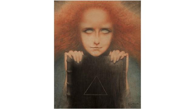 """Ausstellung zum Belgischen Symbolismus: Sprudelnder Okkultismus: Jean Delvilles turbo-kitschiges """"Porträt der Madame Stuart Merill - Mysteriosa"""" (1892)."""