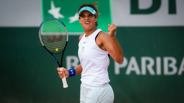 September 25, 2020, Paris, FRANCE: Mayar Sherif of Egypt during her final qualifications match at the 2020 Roland Garros