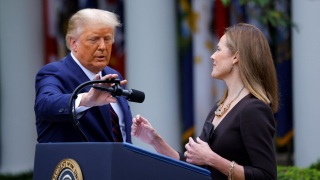 FILE PHOTO: U.S President Donald Trump holds an event to announce his nominee of U.S. Court of Appeals for the Seventh Circuit Judge Amy Coney Barrett to fill the Supreme Court seat