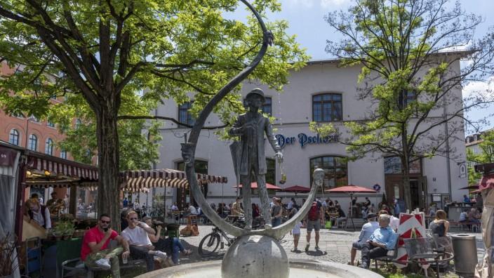 Karl-Valentin-Brunnen am Viktualienmarkt in München, 2020