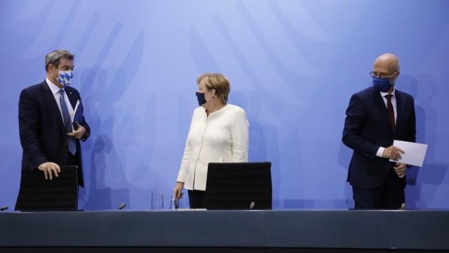 Markus Söder, Bayerischer Ministerpräsident, Bundeskanzlerin Angela Merkel, Peter Tschentscher, Erster Bürgermeister de
