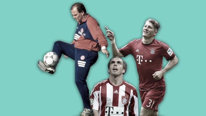Fußball und Journalismus: Bilder aus vergangenen Zeiten (von links nach rechts): Die Bayern-Größen Hoeneß (1996), Lahm (2010) und Schweinsteiger (2014).