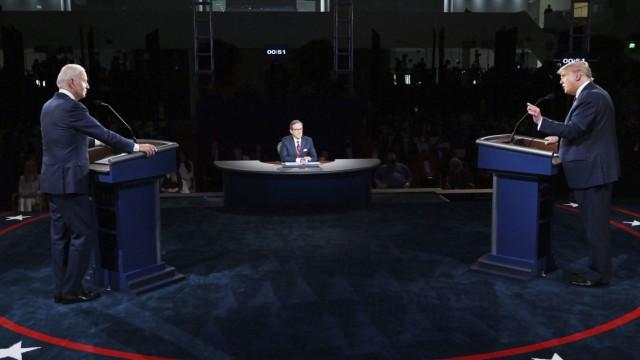 US-Wahl 2020: US-Präsident Donald Trump und Joe Biden beim ersten TV-Duell