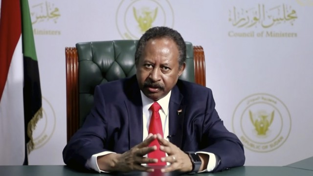 Sudan's Prime Minister Abdalla Adam Hamdok speaks in a pre-recorded message which was played during the 75th session of the United Nations General Assembly, Saturday, Sept. 26, 2020,