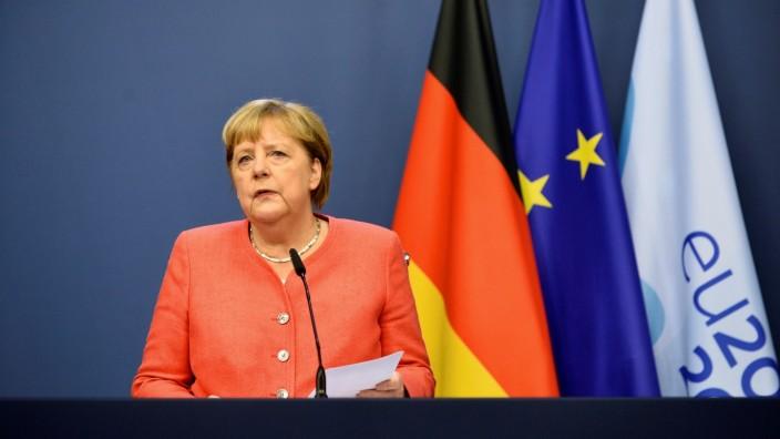 Angela Merkel auf der Pressekonferenz nach dem EU-Gipfel