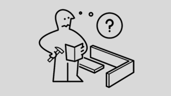 Onlineshopping: Ein Hammer in der Hand und viele Fragezeichen im Kopf: Zeichnung aus einer Ikea-Aufbauanleitung.