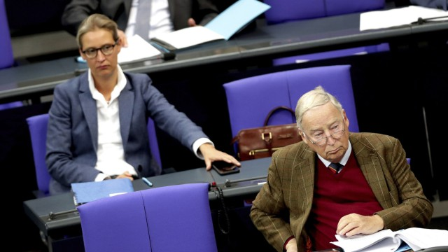 Alice Weidel, left, and Alexander Gauland, right,