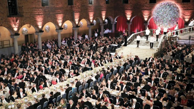 A formal dinner party of the Nobel Prize is held after awards ceremony at the Stockholm City Hall in Stockholm, Sweden on December 10, 2019.