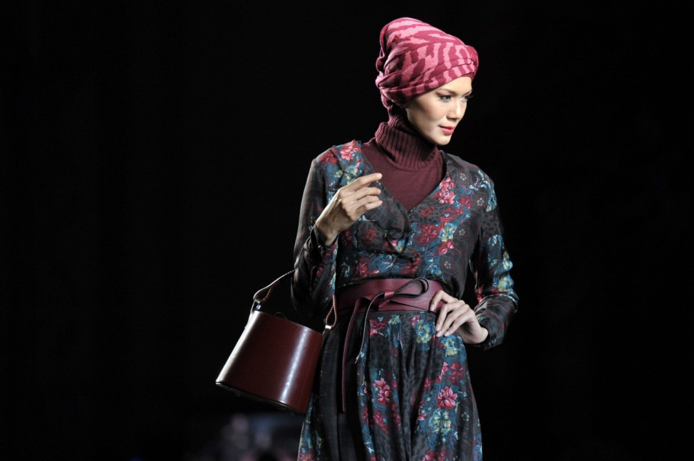 Nov 14 2011 Kuala Lumpur Malaysia A model walks the runway to present a collection by Kenzo d