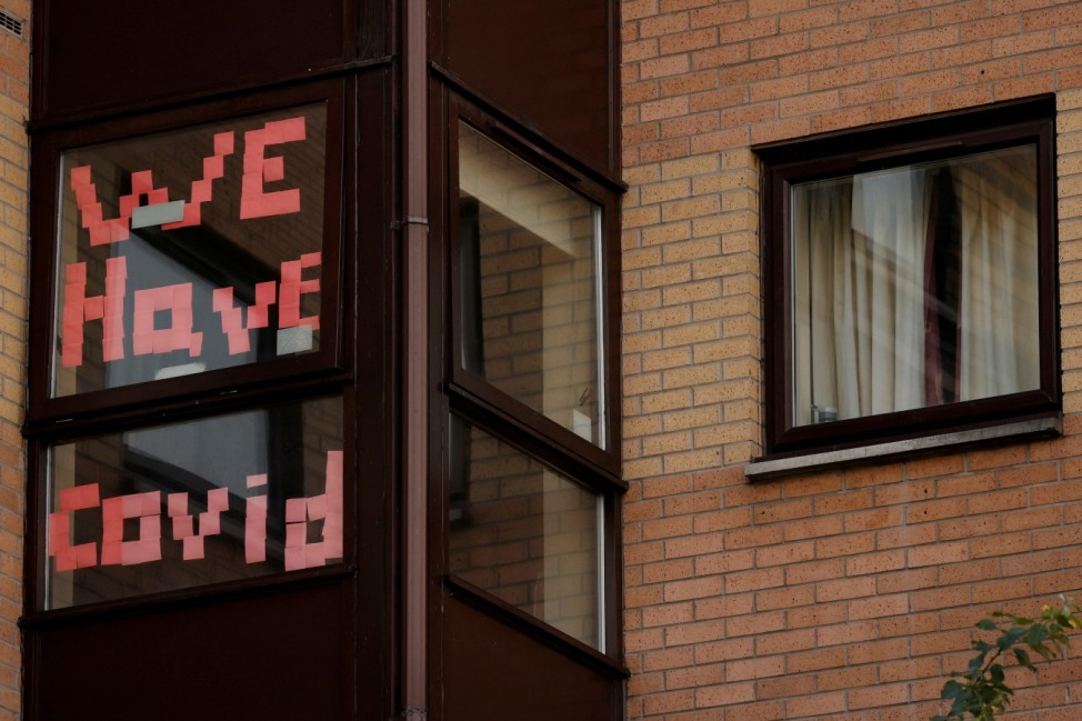 A sign is displayed in the window of a student accommodation building following the outbreak of the coronavirus disease (COVID-19) in Manchester, Britain