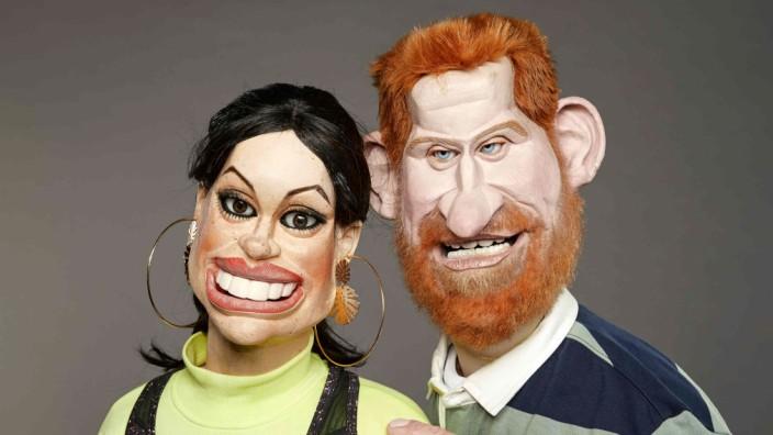 """Britische Fernsehshow """"Spitting Image"""": Wie aus dem Gesicht geschnitten, so ist der Titel der Show zu übersetzen: Die Puppen, die Prinz Harry und Meghan darstellen sollen."""