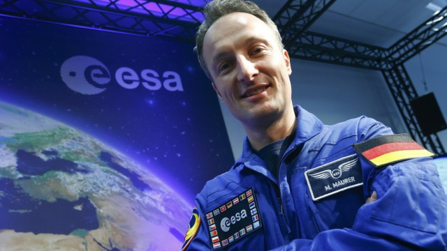 ESA's new astronaut Maurer of Germany poses during his presentation at the ESA headquarters in Darmstadt