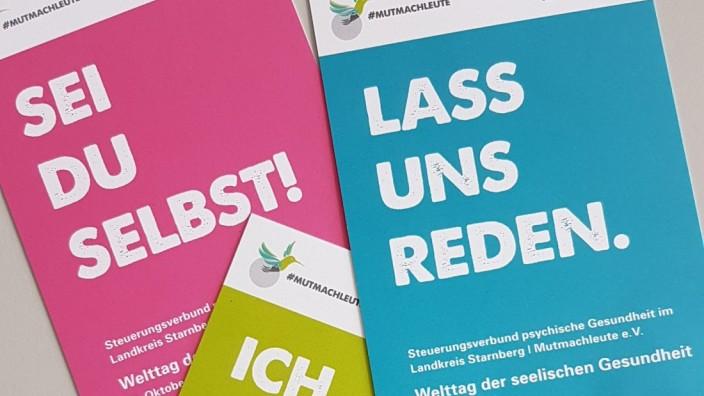 """Positive Aktion: """"Psychische Gesundheit geht uns alle an"""": drei der fünf Postkartenmotive mit mutmachenden Sprüchen."""