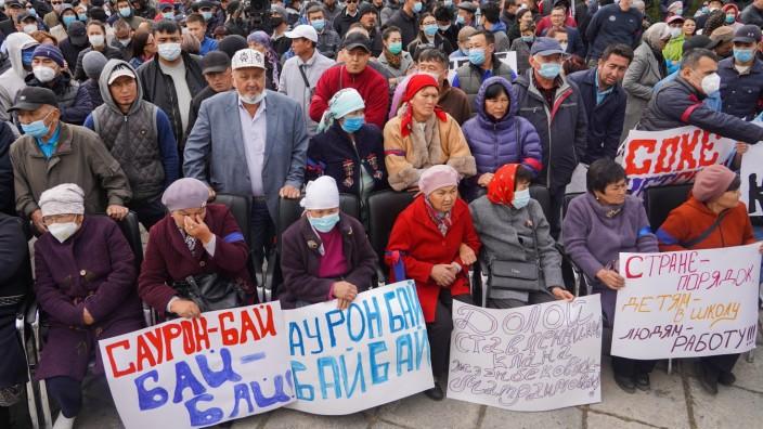 BISHKEK, KYRGYZSTAN - OCTOBER 9, 2020: People take part in a rally in support of Kyrgyzstan s former president Almazbek
