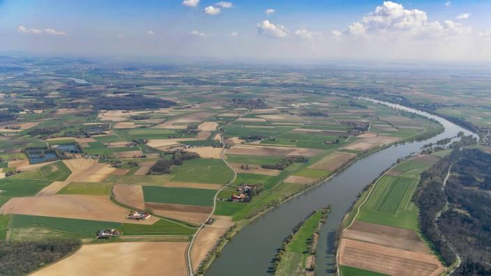Luftaufnahme vom Gelände des geplanten Donaupolder Sulzbach