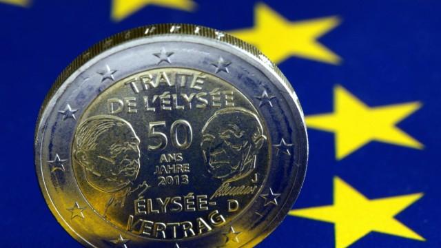 2 Euro Gedenkmünze anlässlich des 50. Jahrestags der Unterzeichnung des Elysee Vertrag es 1953 mit Konterfei s Charles