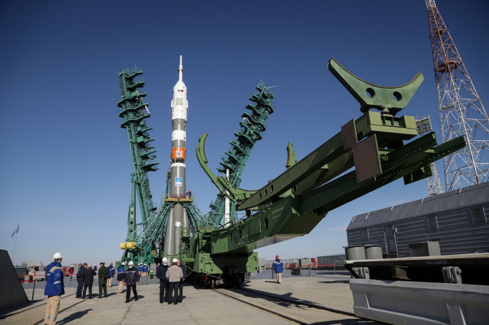 The Soyuz-2.1a carrier rocket with the Soyuz MS-17 spacecraft is set on the launchpad at the Baikonur Cosmodrome