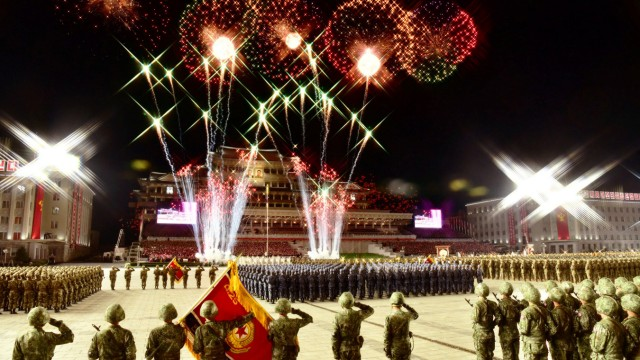 Parade to mark the 75th anniversary of the founding of the ruling Workers' Party of Korea