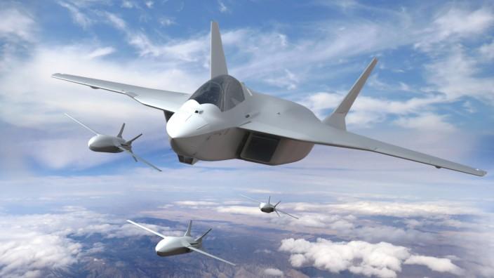 Neuer Kampfjet FCAS: Einen ersten FCAS-Prototyp soll es 2026 geben. Das Bild zeigt eine Simulation mit dem Jet und unbemannten Flugzeugen.