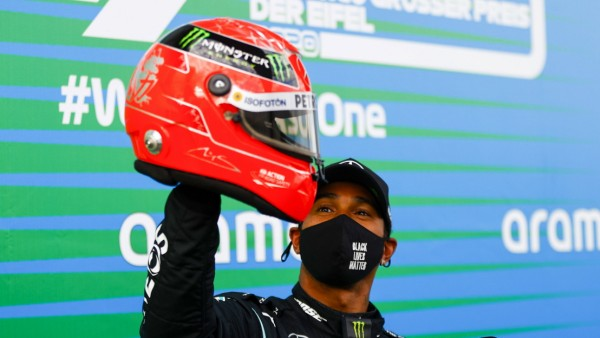 2020 Eifel GP NüRBURGRING, GERMANY - OCTOBER 11: Lewis Hamilton, Mercedes-AMG Petronas F1, 1st position, with the helme