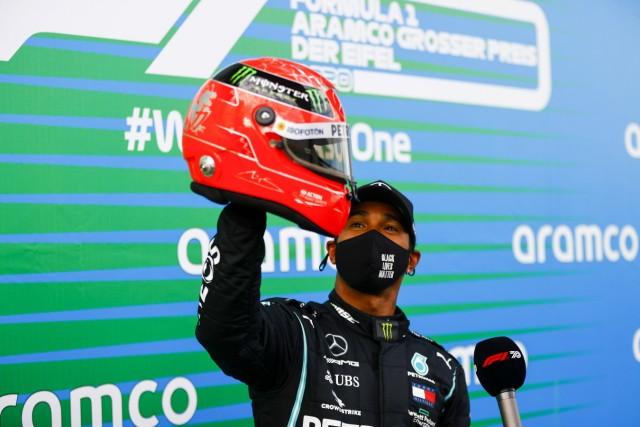 2020 Eifel GP NüRBURGRING, GERMANY - OCTOBER 11: Lewis Hamilton, Mercedes-AMG Petronas F1, 1st position, with the helme