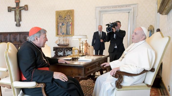 Kardinal Pell bei seiner Privataudienz bei Papst Franziskus