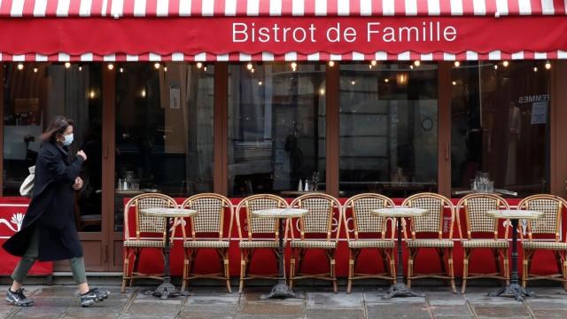 Coronavirus in Frankreich: Geschlossene Bar in Paris