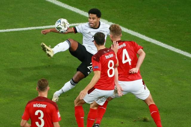 Deutsche Herren Fußball Nationalmannschaft in Köln, Länderspiel, Deutschland vs. Schweiz, Nationsleague im Kölner Rhein