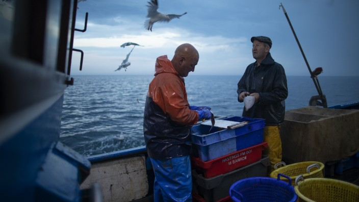 Fishing In The English Channel Off The Coast Of Hastings