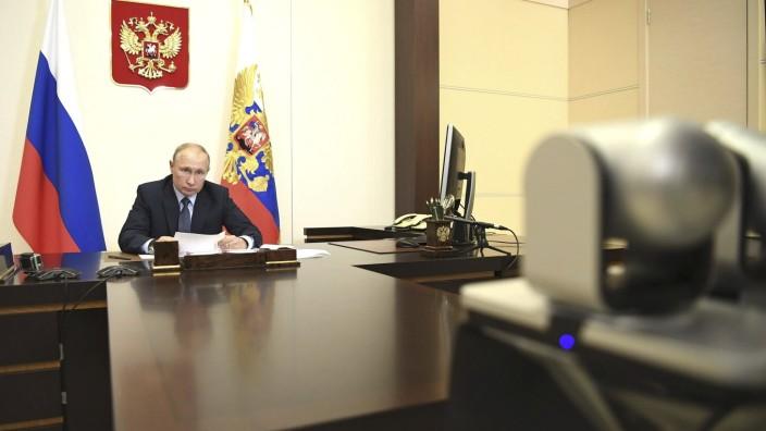 Russian President Putin Teleconference with Kostroma Governor Sitnikov May 29, 2020, Novo-Ogaryovo, Russia: Russian Pres