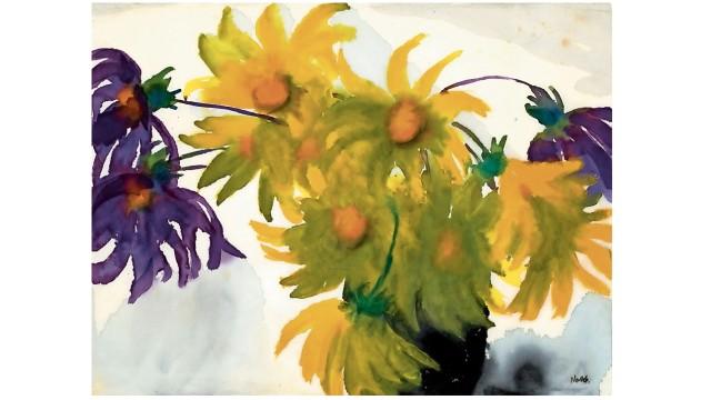 """Helmut Schmidt als Kunstsammler: Emil Noldes """"Dahlien (gelb und violett) in einer Vase"""" (undatiert) sollten die demokratische Gesinnung der BRD belegen."""