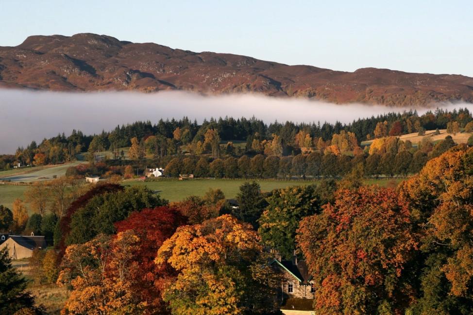 Mist hangs over Pitlochry, Scotland