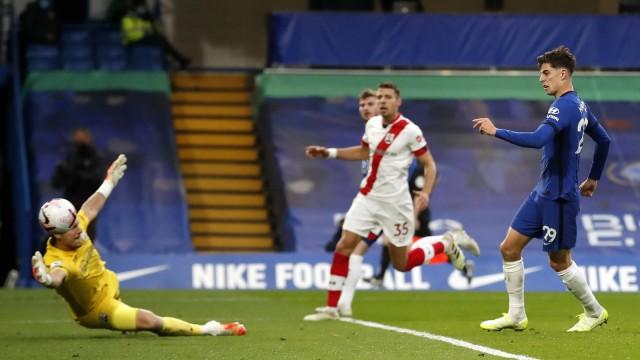 Chelsea v Southampton - Premier League - Stamford Bridge Chelsea s Kai Havertz scores his side s third goal of the game