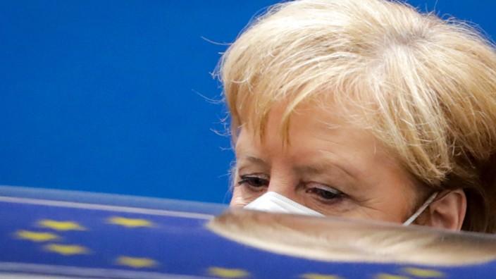 Angela Merkel nach einem Gipfel der EU-Staats- und Regierungschefs