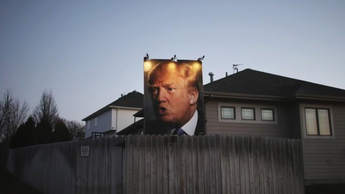 Trump-Plakat in Iowa 2016