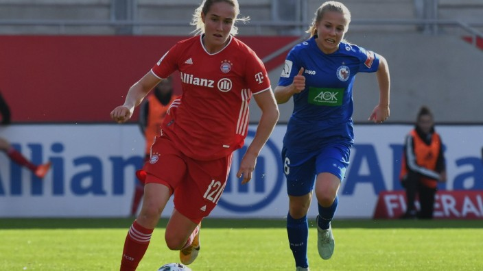 LOHMANN Sydney (FC Bayern München 12), PLATTNER Maria (Turbine Potsdam 6), 2020/21 BL Frauen FC Bayern München Frauen vs; Fußball - Frauen - FC Bayern - Sydney Lohmann