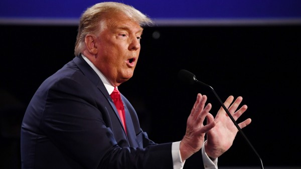 Republican presidential candidate President Donald Trump speaks during the final presidential debate with Democratic pre