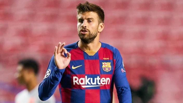 FC BAYERN MUENCHEN - FC Barcelona, Barca 8-2 , Football UEFA Champions League Lisbon, Lissabon, Portugal, 14th August 20; Gerard Piqué Barcelona