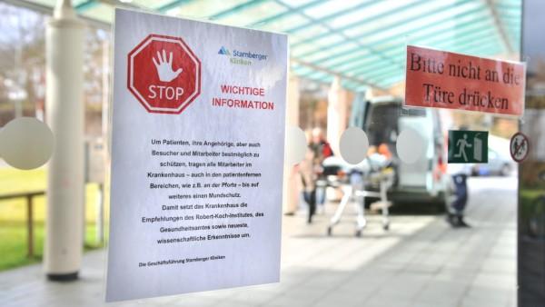 Starnberg: Krankenhaus Coronavirus Hinweisschilder