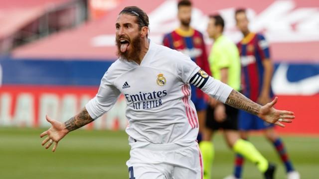 Spanish La Liga soccer match Barcelona vs Real Madrid at Camp Nou Stadium, Barcelona, October 24, 2020 Sergio Ramos cel