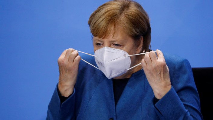 German Chancellor Angela Merkel attends a video-conference