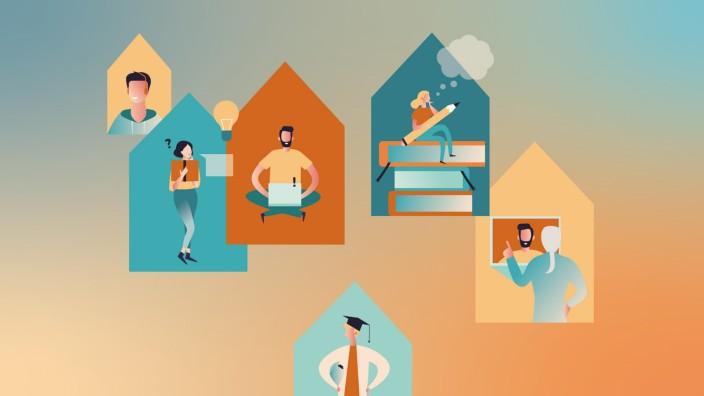 Hochschulen in Bayern: Studieren während Corona funktioniert - doch viele Studierende sehnen sich nach dem Normalbetrieb. Illustration: Jessy Asmus