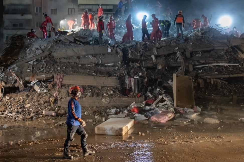 BESTPIX - 6.6 Magnitude Earthquake Strikes Off Coast Of Turkey's Izmir Province